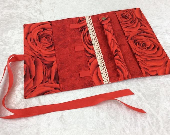 Handmade Jewellery roll organiser travel case Ruby Red Roses