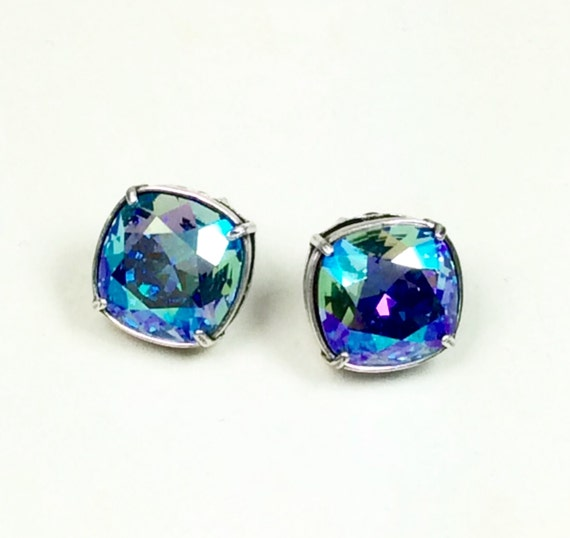 Swarovski Crystal 12MM Cushion Cut Stud Earrings - Gorgeous  Earrings - Aquamarine AB or Your Favorite Color and Finish - FREE SHIPPING