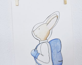 Nursery Animal Print. Watercolor Illustration. Watercolor illustration: Timéo astronaut rabbit.