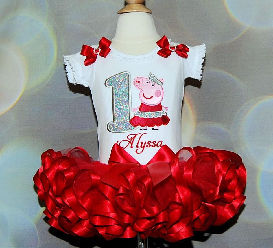 Peppa Pig Birthday Outfit 1st Girl Glitter Number Dress Princess Ribbon Tutu Personalized Shirt