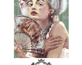 Je Ne Regrette Rien, a  Marie Antoinette ,french inspired, Blank, Art Greeting card