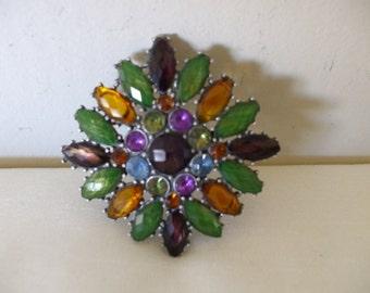 Liz Claiborne Rhinestone Brooch, Pin, Vintage Signed LC,  Multi colored rhinestones,