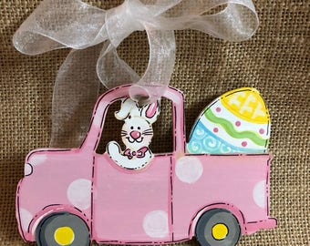 Easter basket tie on, Bunny truck with egg, Easter ornament , Easter decor