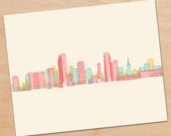 Miami Skyline Print, Miami Wall Art, Miami Print, Miami Art, Decor, skyline prints, wall art, skyline art, home decor, poster