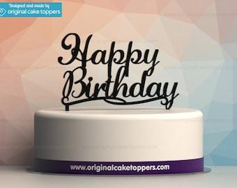 "Classic ""Happy Birthday"" Birthday Cake Topper - BLACK - by OriginalCakeToppers"