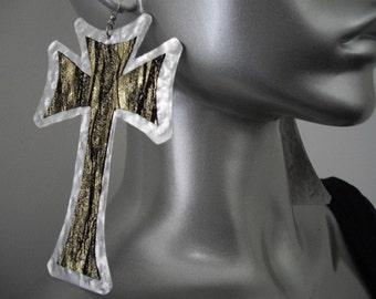 Large Tribal Earrings Gold and Black Leather Cross Earrings