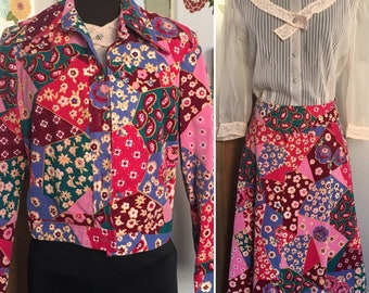Vintage Ugly Suit, Country Western Singer Skirt Suit with Patchwork and Rhinestones Velveteen Butterfly Collar Crazy Colorful Skirt Jacket