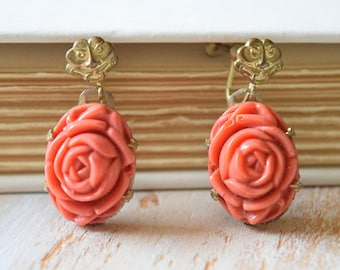 Coral Peony Celluloid Earrings | Vintage 1950's Screw on Dangle Earrings
