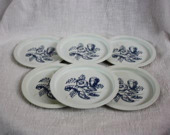 Vintage Set Of Six Tin Blue and White Coasters With Lobster and Beer Design