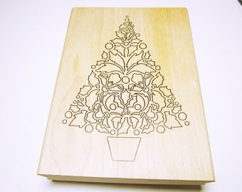 Poinsettia Tree Rubber Stamp Christmas Tree Card Making Christmas Scrapbooking Rubber Stamp Supplies CHRISTMAS STAMPS