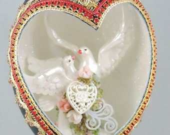 White Doves Wedding Cake Topper, Doves and Hearts Cake Topper, Wedding Keepsake, Wedding Decor, Wedding Gift, Faberge Decorated Egg
