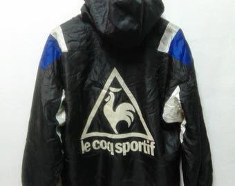 Vintage 90s Le Coq Sportif Big Logo Swag Hip hop Spellout Track Jacket Hooded Pullover ZipperJacket