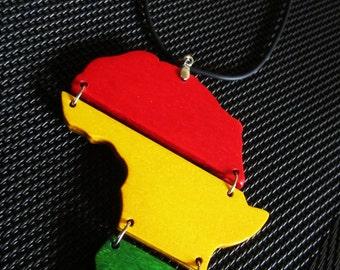 Africa Necklace - Handmade Wooden Rasta Necklace - Africa Pendant