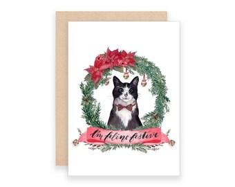 I'm Feline Festive Christmas Card | Watercolor Cat Christmas Card | Kitty Cat Christmas Card | Watercolor Crest Card | Christmas Puns Card