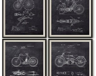 Vintage Motorcycle Patent Art Print - Perreaux Patent Print - Wolfmuller Patent Print - Holley Patent Print - Harley Davidson Patent Print