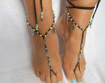 Crochet Barefoot Sandals Beach Wedding  Yoga Shoes Foot Jewelry Black Silver Green Blue