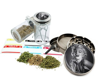 "Marilyn Monroe - 2.5"" Zinc Alloy Grinder & 75ml Locking Top Glass Jar Combo Gift Set Item # 50G012516-6"
