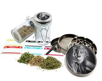 "Marilyn Monroe - 2.5"" Zinc Alloy Grinder & 75ml Locking Top Glass Jar Combo Gift Set Item # 50G012516-6"