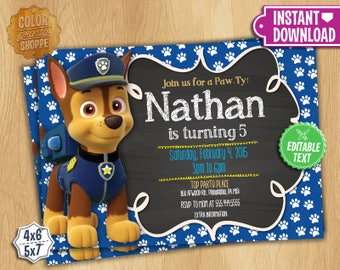 Paw Patrol Invitation Chase - EDITABLE TEXT - Customizable Chase Paw Patrol Birthday Party Invite - Chase - Instant Download