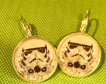 Star Wars Stormtrooper cabochon earrings- 16mm
