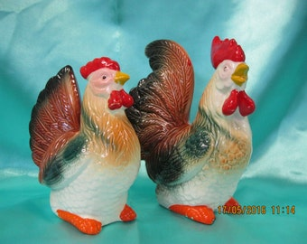 Vintage Rooster and Hen ceramic figurines used
