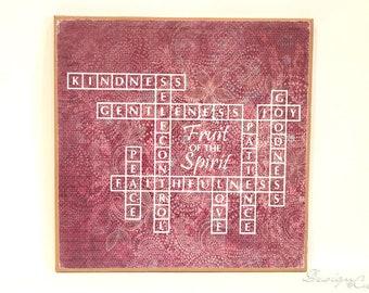 Fruit of the Spirit - Decorative wood sign - decorative paper, decoupage, custom sign - Love Joy Peace Patience Kindness, Bible verse sign