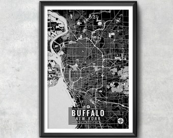 BUFFALO New York Map with Coordinates, Buffalo Wall Art, Buffalo Map, Map Art, Map Print, Buffalo Print, Buffalo Art, Buffalo Gift, Map, Art