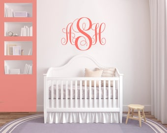 Monogram Wall Decal Etsy - Coral monogram wall decal