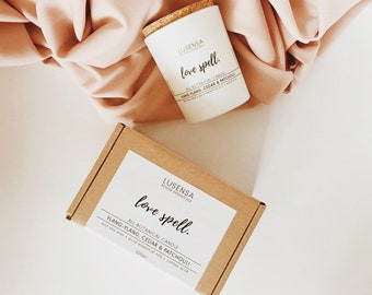 LOVE SPELL | Scented candle | Ylang-Ylang, Ceder & Patchouli | all natural - eco soy wax + 100% pure essential oils + wood wick