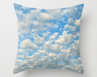 POPCORN CLOUDS Throw Pillow, 16x16, 18x18, 20x20, Decorative, Cushion, nursery, Office, Ocean Blue White pillow,happy,cloudy sky, dorm