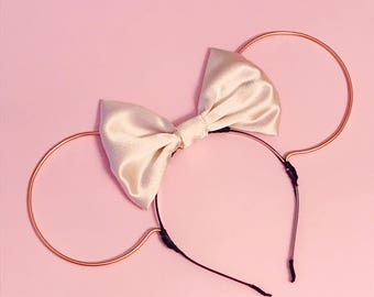 Pale Pink Satin Bow and Rose Gold Wire Mouse Ears Headband