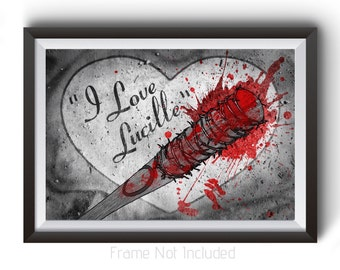 The Walking Dead Poster, Negan Wall Art Prints, I love Lucille Art, TWD Walking Dead Home Decor, Horror Posters, Gift for Her, Wall Decor