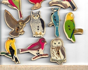 WOODEN Assorted BIRD BUTTONS - 2 Hole - Sew Through - Painted - Get a full set or choose individual birds!