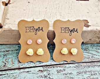 Cream Rose Earrings, Rose Stud Earrings, Peach Resin Earrings, Flower Earrings, Flower Girl Earrings, Little Girl Earrings, Small Earrings