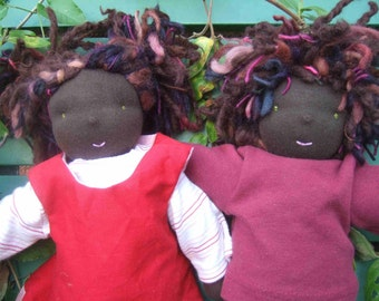One of a kind, Custom Made, Waldorf Inspired 'T' doll, 12 inches/ 30 cms