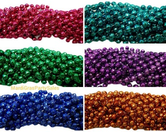 """12 Mardi Gras Beads Necklaces Metallic Disco Color Choices 7mm 33"""" Strands Craft"""