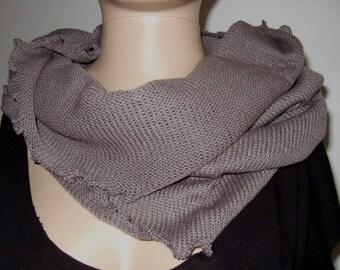 Taupe tube cowl hood 70 cm fine Merino yarn