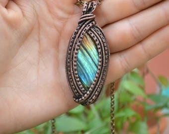 Rainbow Spectrolite Wire Wrapped Pendant. Unique Gemstone Statement Necklace. Boho Crystal Pendant. Gypsy Labradorite Necklace. Gift For Her
