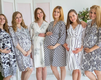 Moms in Classic White Black Prints, Maternity Robe, Delivery Robe, Labor Gown, Hospital Gown, Baby Shower Gift, Nursing Gown, Pregnancy Robe