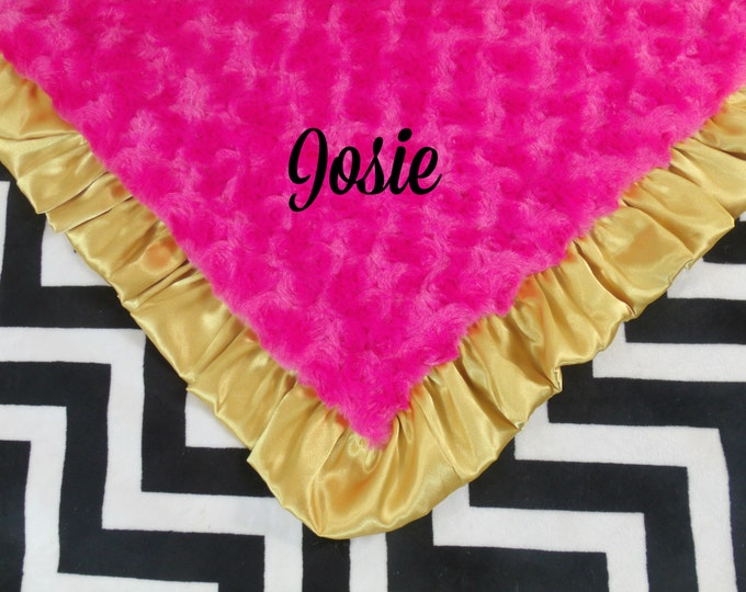 Black Chevron, Fuchsia Pink and Gold Minky Baby Blanket,