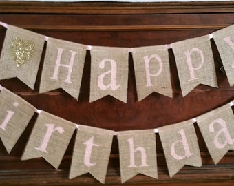 Happy Birthday Banner, Burlap Banner, Pink Gold Garland, Birthday Banner, Happy Birthday Sign, Girls Birthday Sign, Birthday Bunting