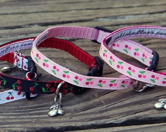 Cherries Dog Collar with Charm - narrow width for tiny dogs / puppies