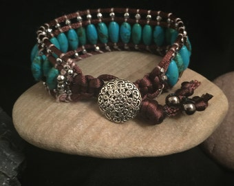 Triple Row Beaded Wrap Bracelet
