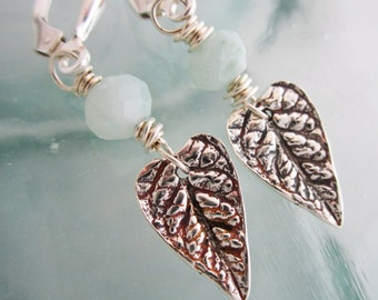 Handcrafted Heart Shaped Leaf Earrings with Amazonite