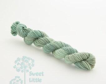 Mini DK skein - Beautiful hand dyed mossy green hank of superwash merino wool