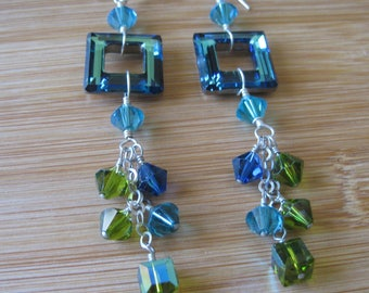 Vintage and New Swarovski Crystal and Sterling Chain Dangle Earrings