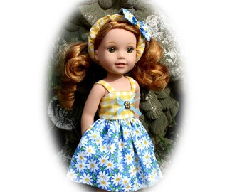 """Fits like Wellie Wisher Clothes for 14.5""""Dolls. Dress & Bow Headband. Toy Doll Clothes Yellow  Daisy Print (Wellie Wisher Doll not included)"""