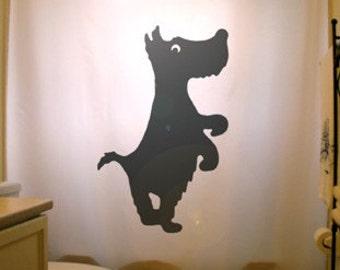 Scottish Terrier Shower Curtain, Scottie Dog Scotty bathroom decor, extra long custom fabric colors