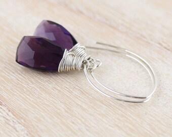Amethyst Quartz & Sterling Silver Earrings. Long Drop Earrings. Purple Gemstone Dangle Earrings. Wire Wrapped Bead Earrings. Jewelry