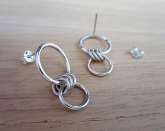 DEMI Dangle Earrings - Silver Circle Earrings - Circle Long Earrings - Double Circle Earrings - Silver Hoop Earrings - Sterling Silver Hoops